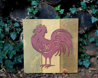 Red Metal Rooster on Reclaimed Wood Sign
