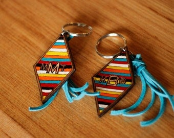 Serape Diamond Keychain with Turquoise Tassel - Handmade Gift - Birthday Gift - Stocking Stuffer -Gifts under 20-Gifts for Him-Gifts for Her