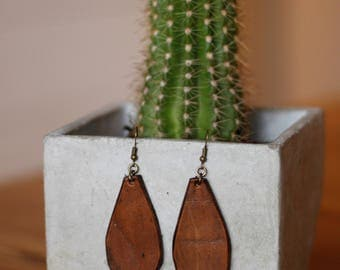 Natalie Medium Brown Earrings | Leather Earrings | Birthday Gift | Anniversary | Gifts under 25 | Handmade | Gifts for Her