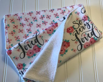Set of 2 Baby Burp Cloths, Baby Girl, so loved, flowers, pink, Terry Cloth Burp Cloth Set, Chenille Burp Cloths, Shabby Chic Baby Gift
