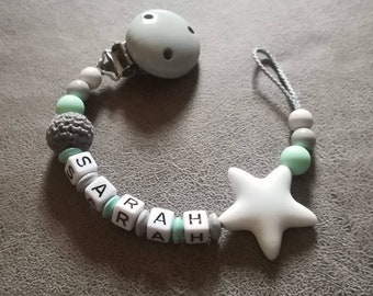 Pacifier in mint/grey/white with desired name < 3