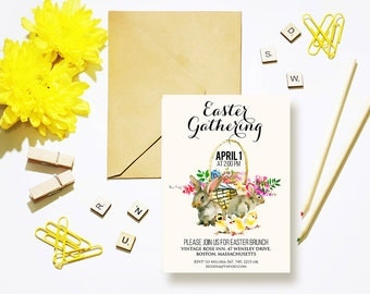 Easter Bunnies Printed Invitation Template Easter Party Invitation Easter Gathering Spring Flowers Rabbits Chick Watercolor Blush Invite DIY