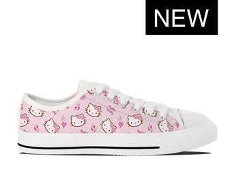 Hello Kitty Vans Style Custom Disney Shoes Hello Kitty Shoes Converse Style with Hello Kitty Sneakers Womens & Kids