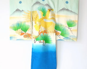 Authentic Japanese Vintage Boy's Montsuki Kimono with Juban Hawk M95