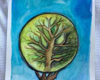 Tree of life, Abstract Watercolour - Framed