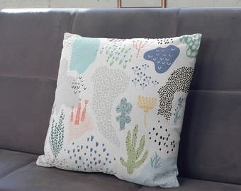 Contemporary Design Pillow, White Decorative Pillow, Plant Pillow, Kids Room Decor