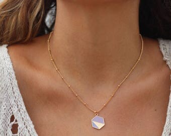 Hexagon charm, Gold Pendant, Beaded Gold Chain