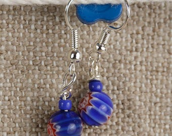 Red, white and blue glass bead dangle earrings