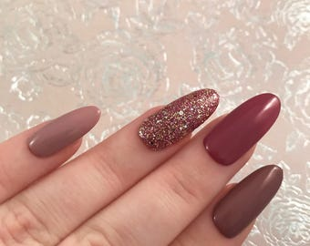 Rose pinks & nude tones. Hand painted pink, rose, nude glitter gel false nails