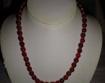 Red Jade Beaded Necklace and Earrings with Tibetan Silver Accents
