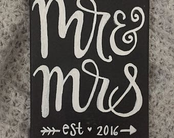 Mr. And Mrs. Canvas with marriage year | 8x10 | Acrylic