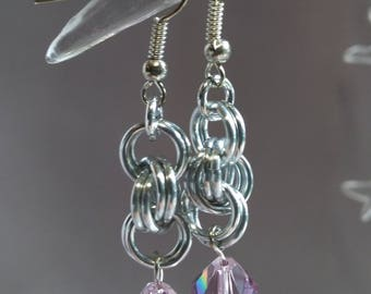 Double Spiral Chain Mail Earrings with Swarovski Crystal