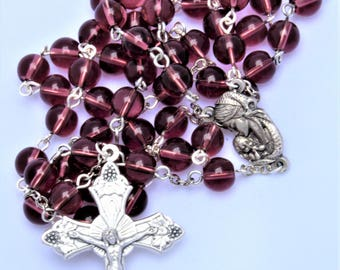 Purple Glass Rosary with Madonna and Child Center  (#170701)