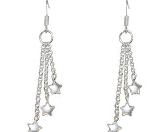 Dangling earrings * silver plated stars *.