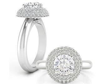 Diamond 0.5ct Domed Halo Forever One (6 mm) Moissanite  Engagement Ring in 14K White Gold