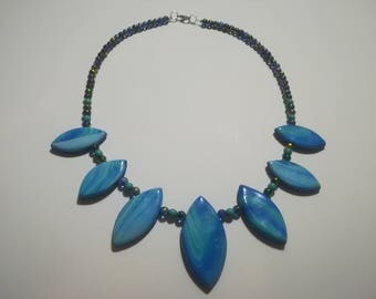 """Necklace made of polymer clay beads blue bullet / """"AZURA"""""""