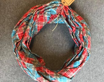 Red and Blue Plaid Flannel Infinity Scarf
