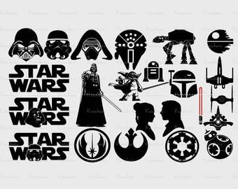 23 Star Wars SVG Collection, Vader svg, yoda svg, Star Wars DXF - Star Wars Clipart - SVG Files for Silhouette Cameo or Cricut