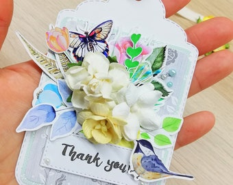 Thank you tags, gift tags with paper flowers