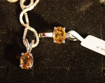 Citrine and Sterling Silver Ring and Pendant set
