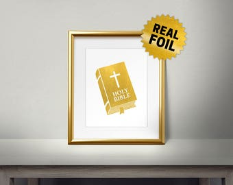 Gold Holy Bible, Real Gold Foil Print, Gold Foil Bible, Wall Art print, Religious Wall Decor, Foil Art, bible verse art