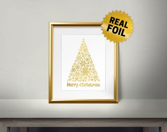 Snowflakes Christmas Tree, Real Gold Foil Print, Merry Christmas, Gold Wall Art, Christmas Decor, Moder Xmas Tree, Holiday Decoration