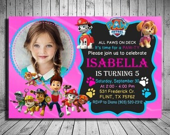 Paw Patrol Birthday Invitation, Paw Patrol Invitation, Paw Patrol Party Invitations, Paw Patrol Birthday Party, Paw Patrol Invitation Girl