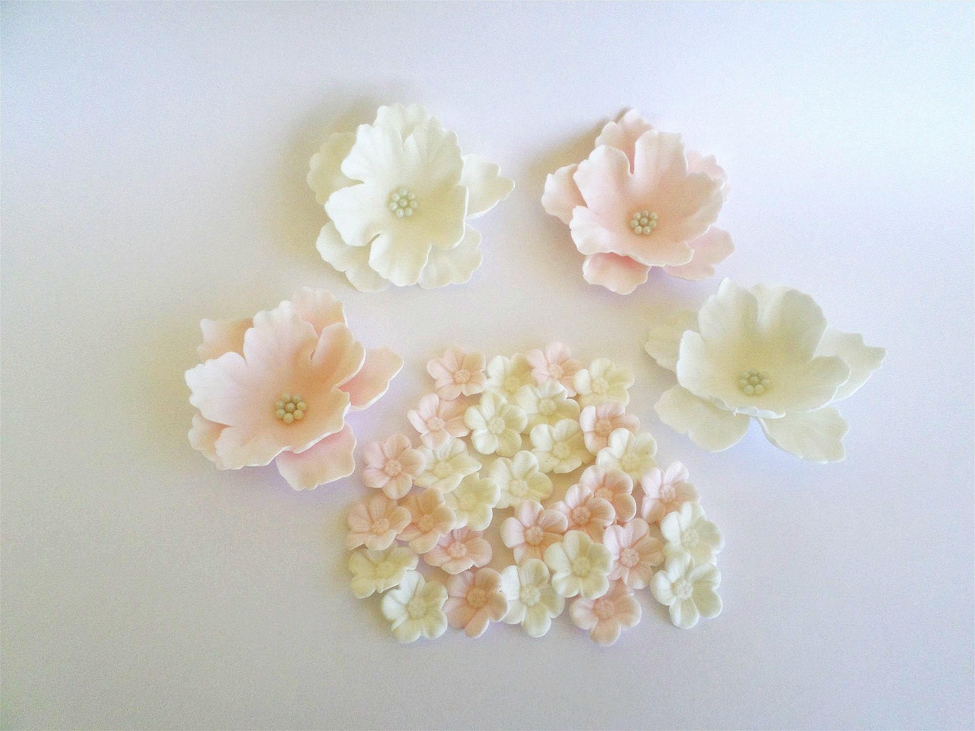 Edible Sugar Flower Set, Fondant Cake Topper, Gumpaste Flowers, Cake ...