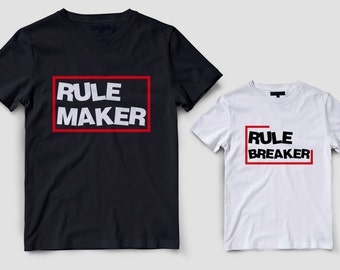 Father son matching shirts, Dad and baby matching shirts, Rule maker rule breaker, Father daughter family shirts, Dad son matching t-shirts