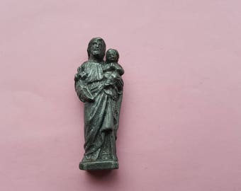 Religious antique French catholic led religious statue of Saint Joseph and child Jesus.