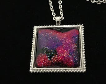 Silver, Pink, and Purple Glitter Glass Pendant Necklace 044