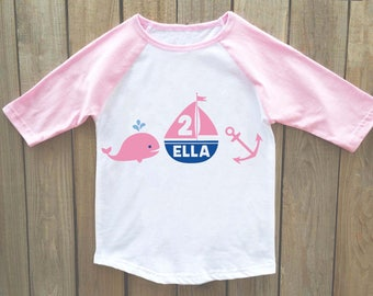 girls nautical birthday shirt, whale birthday shirt, anchor birthday shirt, nautical birthday, birthday shirt, girls birthday shirt, whale