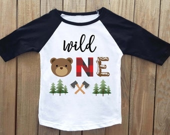 Wild one, Lumberjack Birthday, First Birthday Shirt, Bear birthday shirt, Woodland Birthday, Wild One Birthday, 1st Birthday shirt, Bear