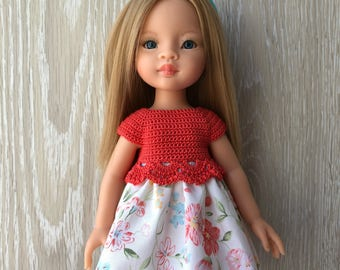 Clothes for Corolle Les Cheries, Paola Reina Doll Dress, Coral Flowers Crochet Doll Dress