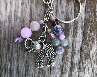 Elephant Keychain, Keychains for Women, Elephant Handbag Charm, Purse Charms for Handbags, Beaded Bag Charm, Elephant Bag Charm, Elephant