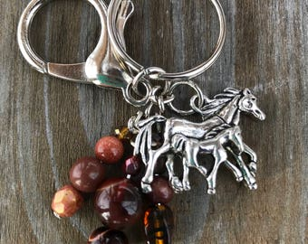 Keychains for Women, Horse Keychain, Equestrian Gifts, Bag Charm, Purse Charm for Handbags, Horse Gifts, Equestrian, Beaded Keychain, Gift