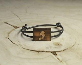 Bracelet Bois Récupéré, Cuir et Argent - Hippocampe