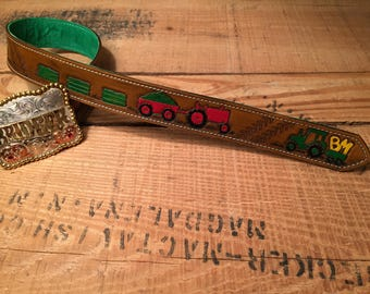 Baby, toddler, kids personalized hand tooled leather tractor trophy buckle belt