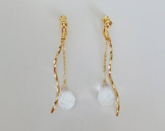 Crystal drop Earrings, Wave Earrings, Gemstone Earrings, Clip on Earrings
