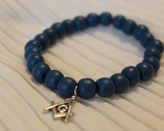 Blue Masonic Charm Bracelet