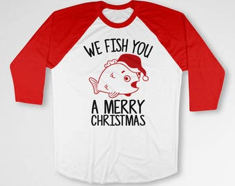 Funny Christmas Gifts For Fisherman Merry Xmas Holiday Present For Men Fishing T Shirt Christmas Clothes 3/4 Sleeve Baseball Tee TEP-534