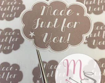 30 Made Just For You Stickers,  Perfect for parcels, packages, letters, Small Business, Order, Labels, Stickers