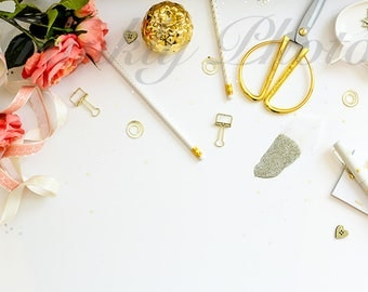 Peach & Gold Desk Styled Stock Photography / Stock Photo / Styled Desktop / Feminine Flatlay / Lifestyle Stock Image /Frankly Photos File #1