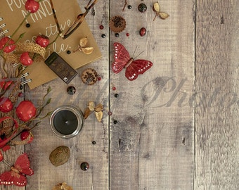 Red Winter Styled Stock Photo on Wooden Backdrop / Lifestyle Stock Image / Styled Stock Photography / Flatlay /  Frankly Photos File #3