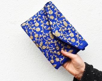Blue Gold Bag, Azure Gold Sequinned Bag, Deep Blue Handbag, Embroidered Handbag, Floral Bag, Evening Bag, Gold Sequins Bag, Ethnic Handbag