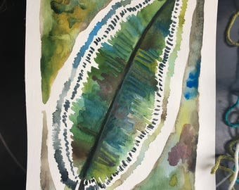 The Feather that Fell into the Lake, Ten Dollar Original Art, Watercolor, Greens and Blues, 7x11