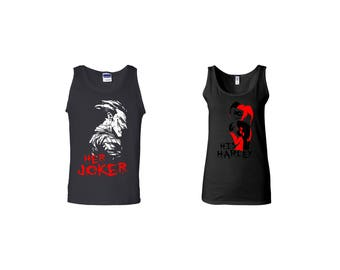 Valentine Gifts Her Jocker His Harley Joker Face COUPLE Printed Adult Tank Tops Unisex  Tops for Men Women Matching Clothes