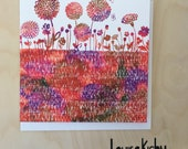 Blooming Beautiful Greetings Card in Reds /Floral Card / Blank Card /
