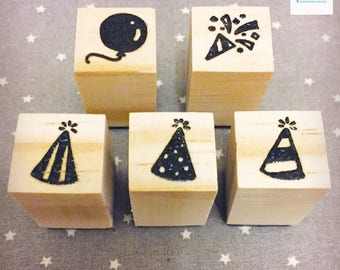 Hand Carved Party Rubber Stamp