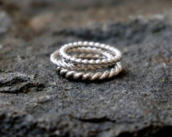 Petite ring, corded wires, 925 silver